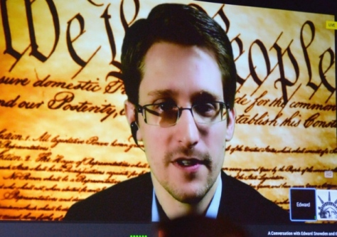 NSA whistleblower Edward Snowden speaks via videoconference during this year's SXSW festival. Picture: AP